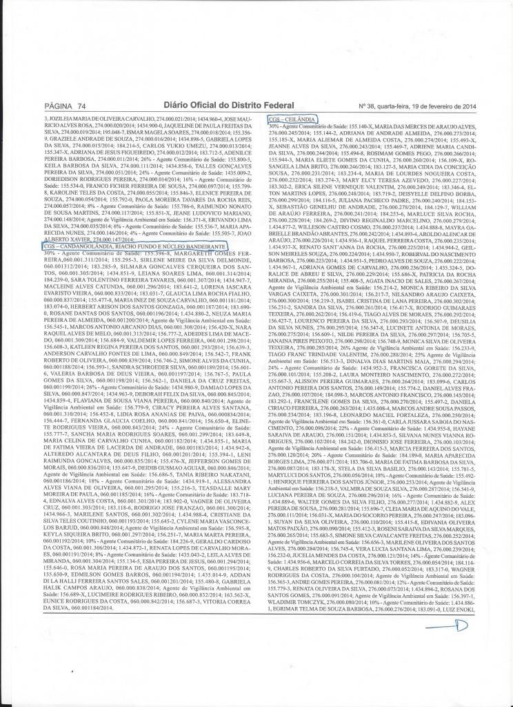 gratificação de titulação AVAS e ACS. Pág.74 dodf