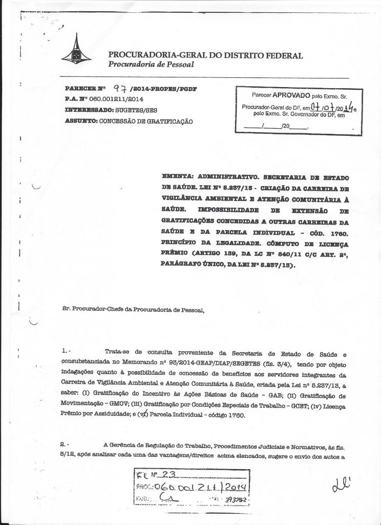 Parecer n°97.2014 PROPES-PGDF