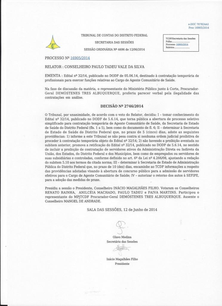 decisão n°2746.2014 TCDF