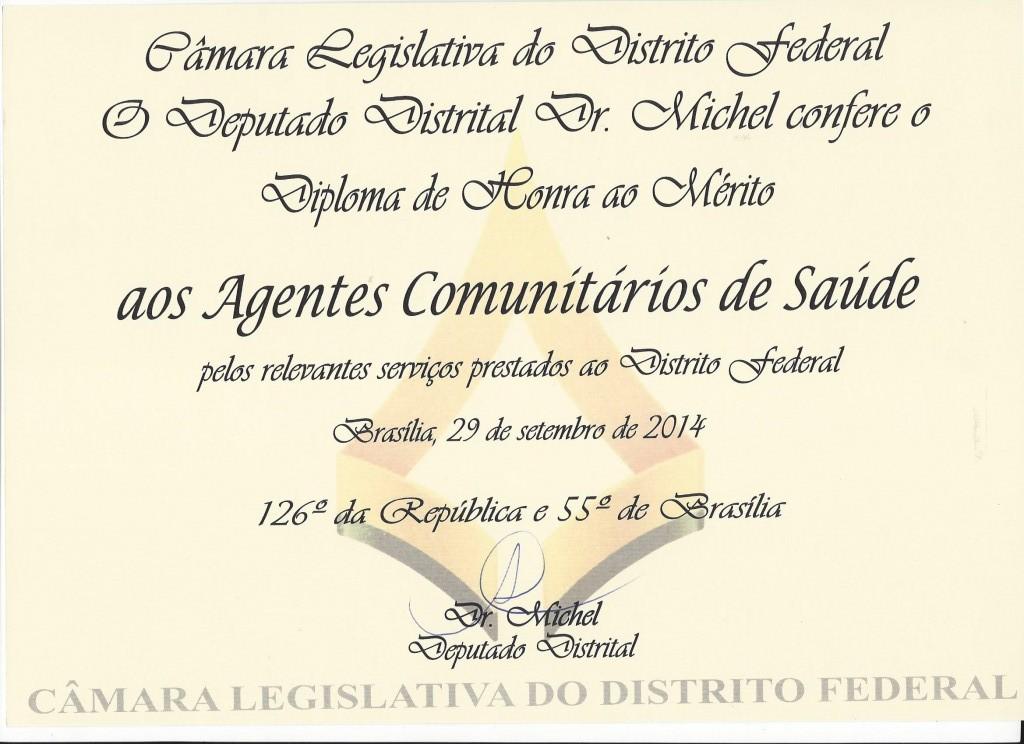 Diploma de honra ao mérito aos ACS