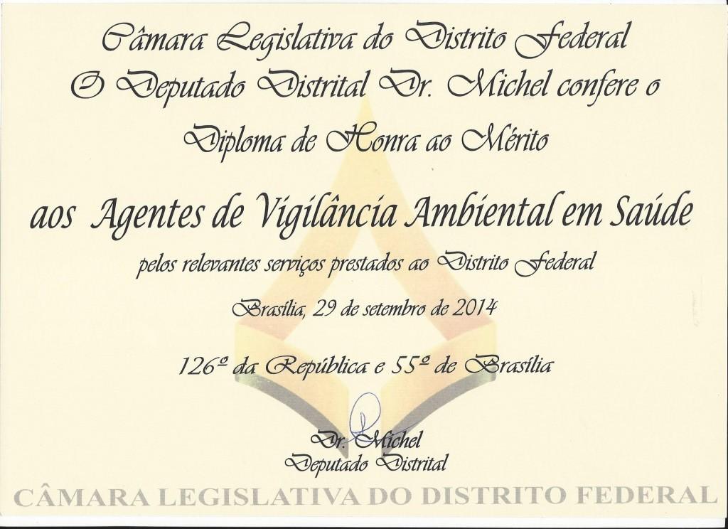 Diploma de honra ao merito aos AVAS