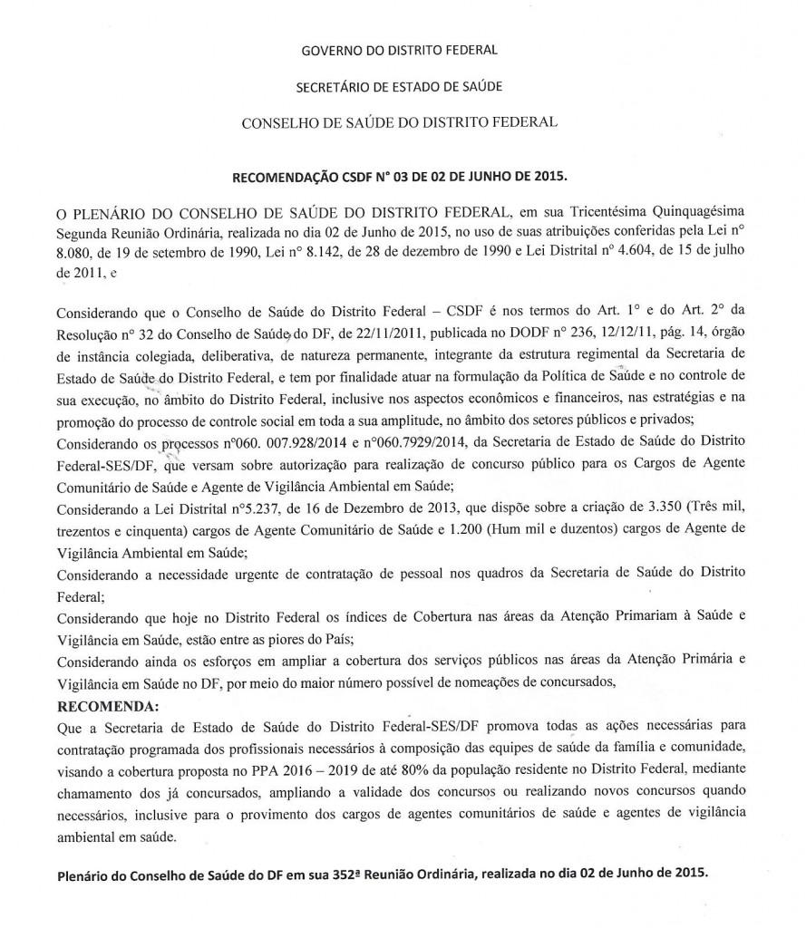 Recomendação N°003.2015 Conselho de Saúde do DF