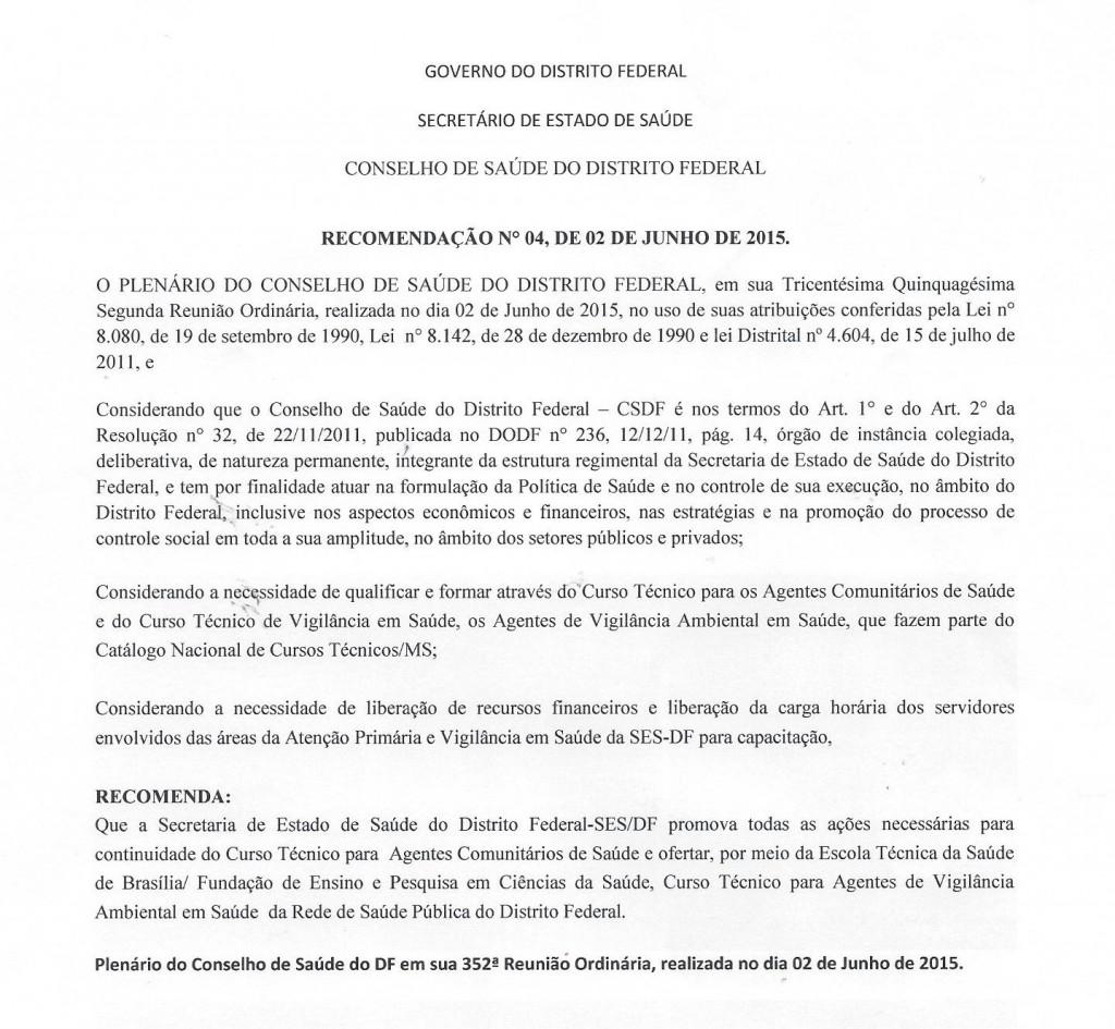 Recomendação N°004.2015 Conselho de Saúde do DF
